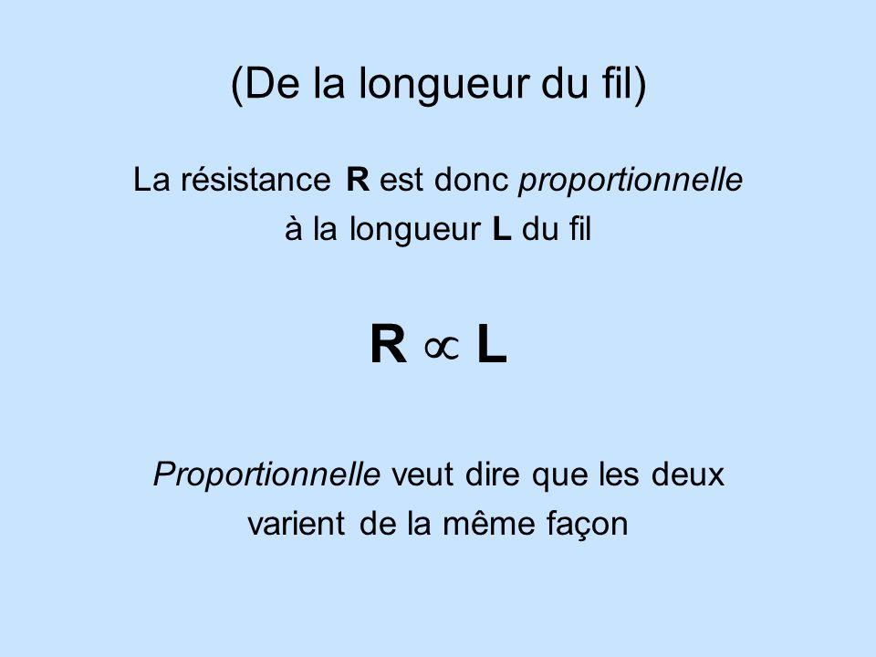 R  L (De la longueur du fil) La résistance R est donc proportionnelle