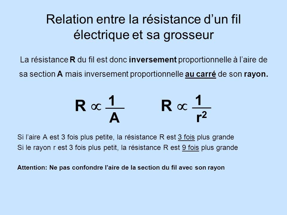 Relation entre la résistance d'un fil électrique et sa grosseur