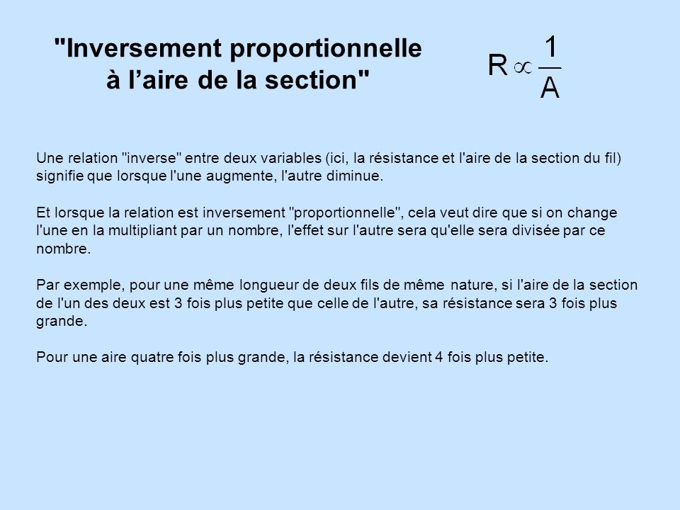 Inversement proportionnelle à l'aire de la section