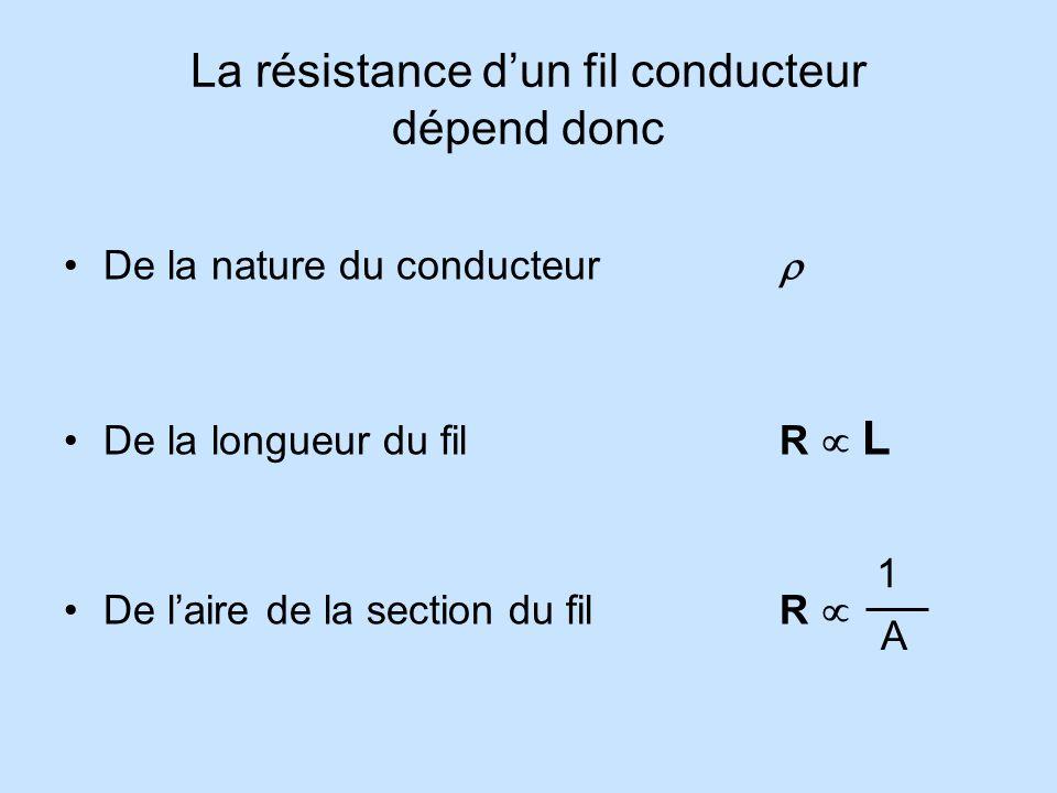 La résistance d'un fil conducteur dépend donc