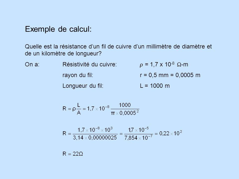 Exemple de calcul: Quelle est la résistance d'un fil de cuivre d'un millimètre de diamètre et de un kilomètre de longueur