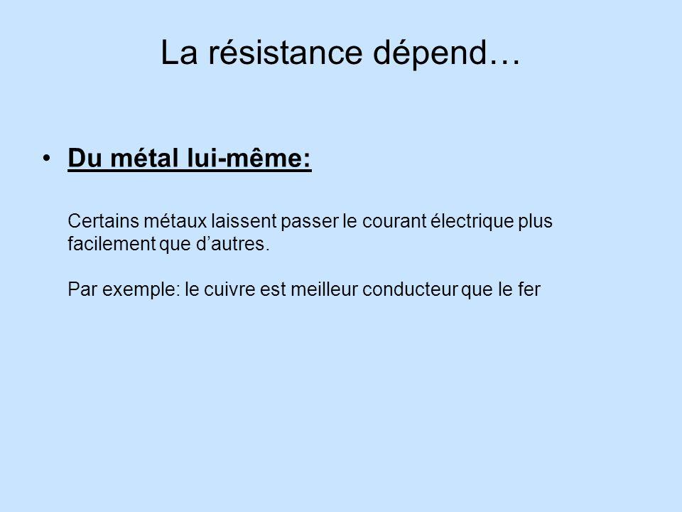 La résistance dépend…