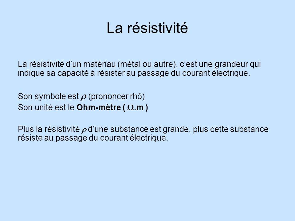 La résistivité La résistivité d'un matériau (métal ou autre), c'est une grandeur qui indique sa capacité à résister au passage du courant électrique.