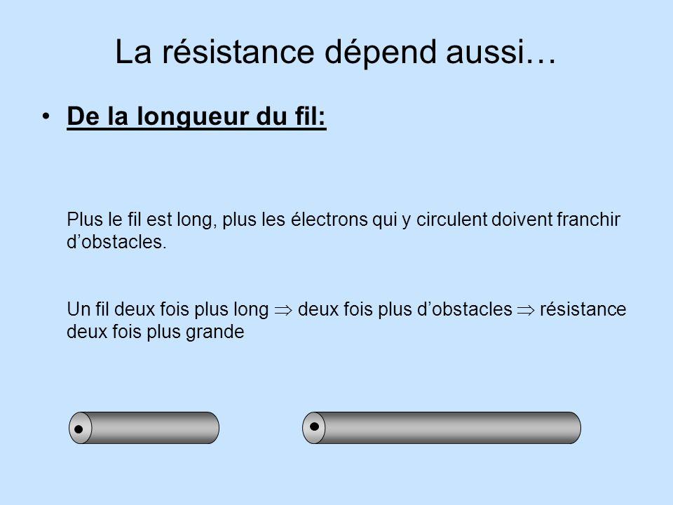 La résistance dépend aussi…