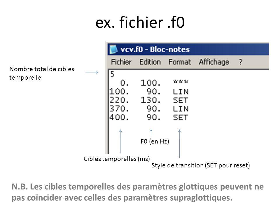 ex. fichier .f0 Nombre total de cibles temporelle. F0 (en Hz) Cibles temporelles (ms) Style de transition (SET pour reset)