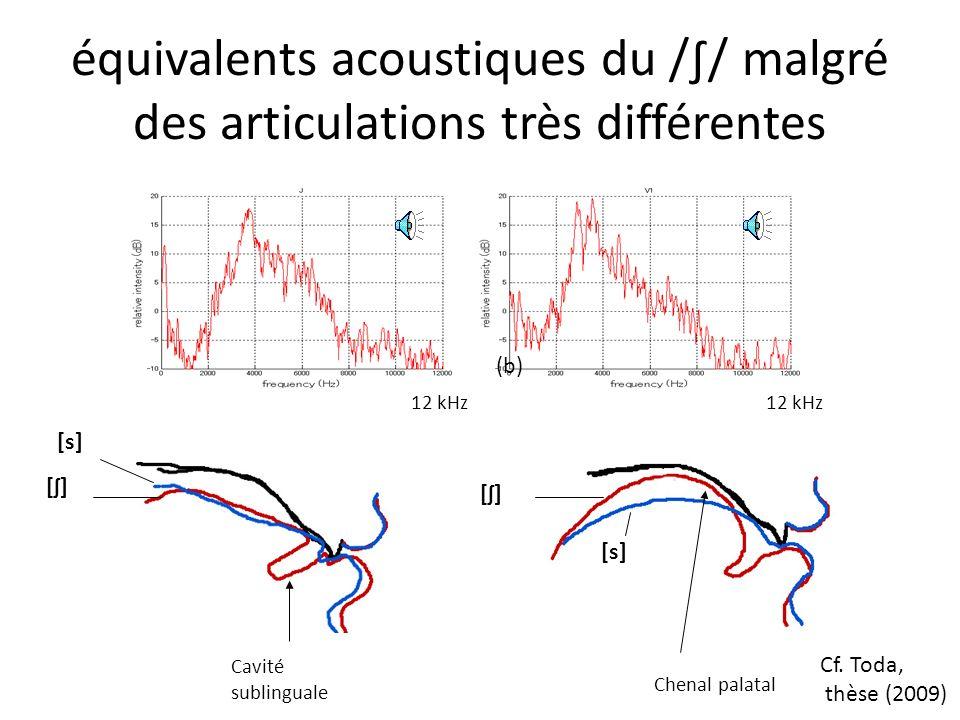 équivalents acoustiques du /∫/ malgré des articulations très différentes