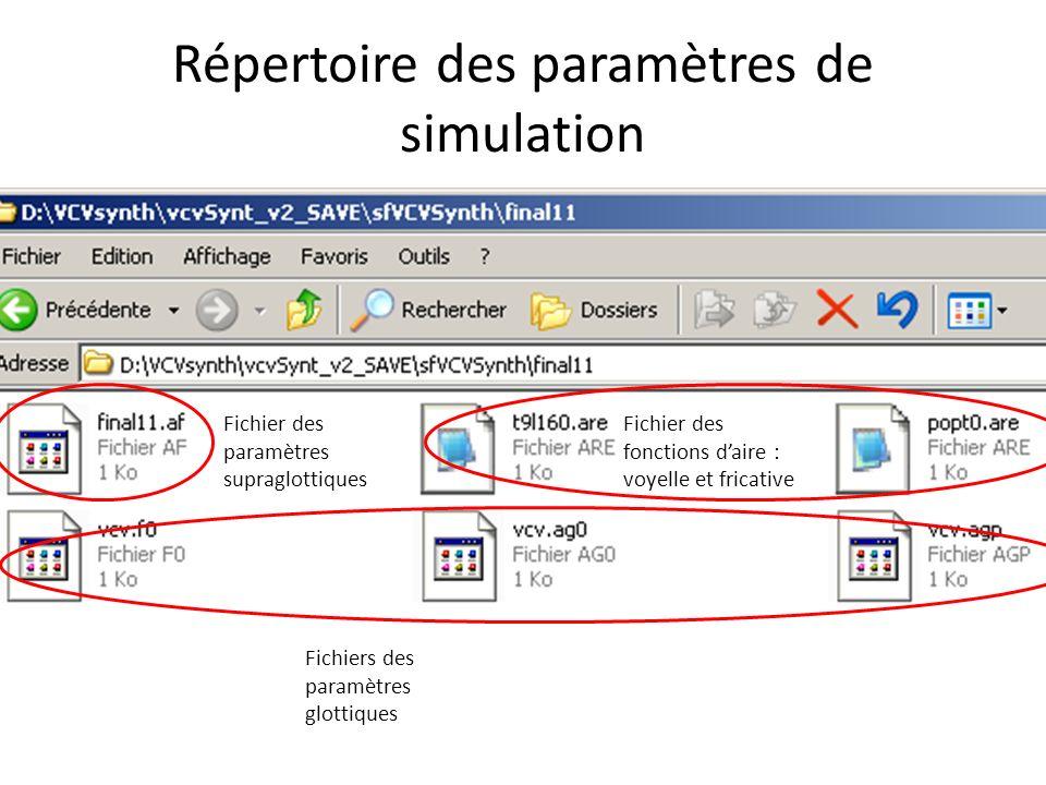 Répertoire des paramètres de simulation