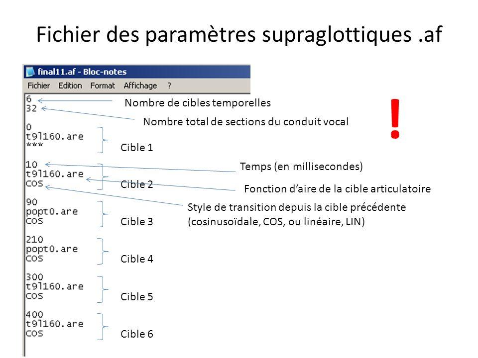 Fichier des paramètres supraglottiques .af