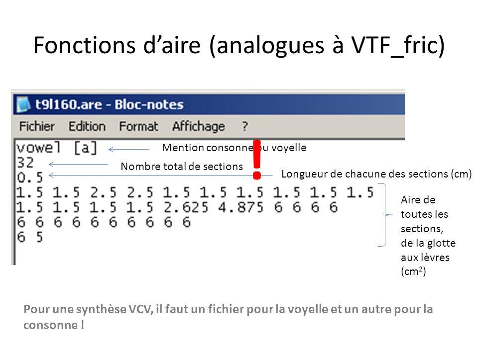 Fonctions d'aire (analogues à VTF_fric)