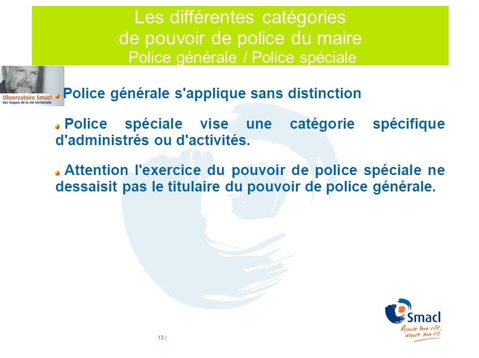 Les différentes catégories de pouvoir de police du maire Police générale / Police spéciale