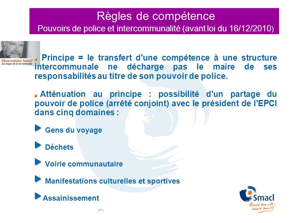 Règles de compétence Pouvoirs de police et intercommunalité (avant loi du 16/12/2010)