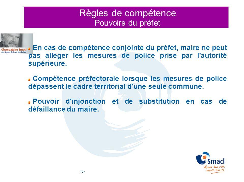 Règles de compétence Pouvoirs du préfet