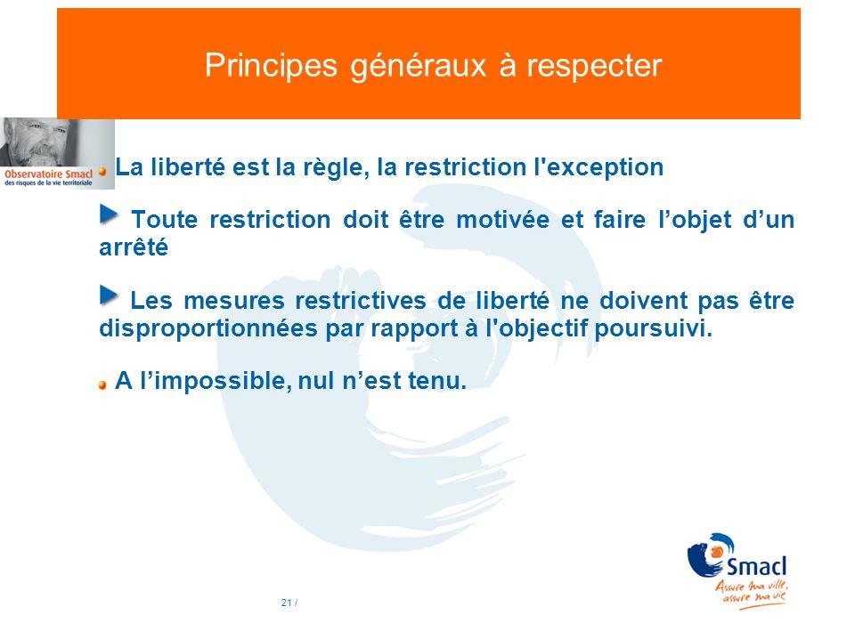 Principes généraux à respecter