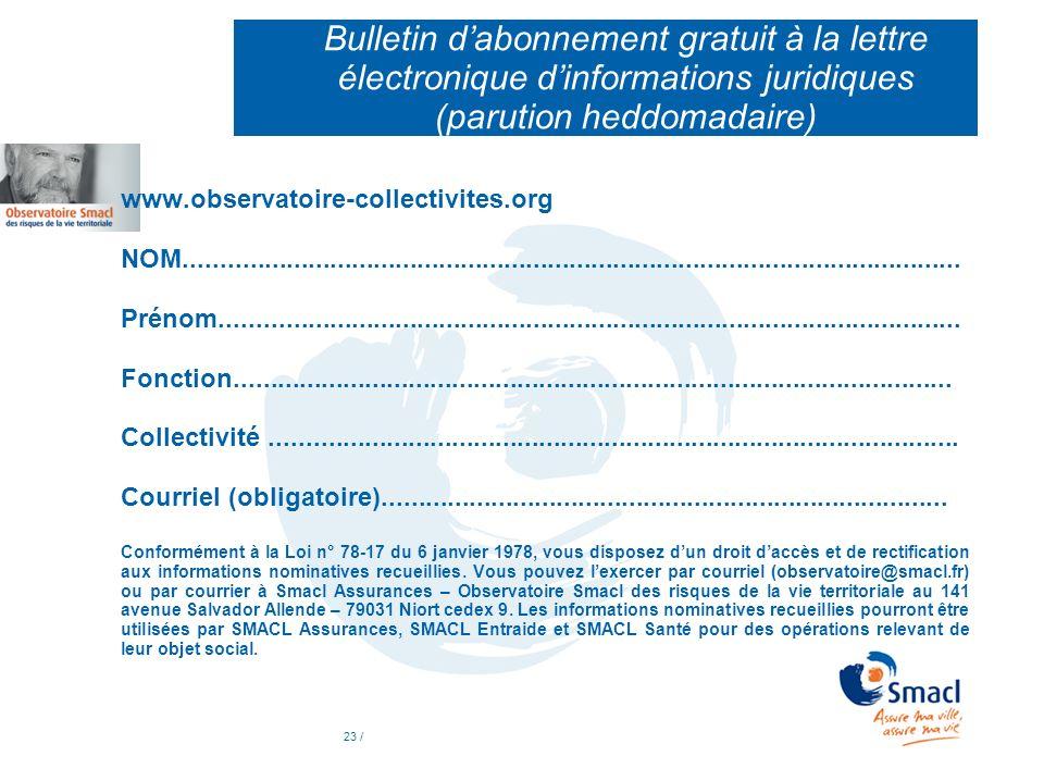 Bulletin d'abonnement gratuit à la lettre électronique d'informations juridiques (parution heddomadaire)