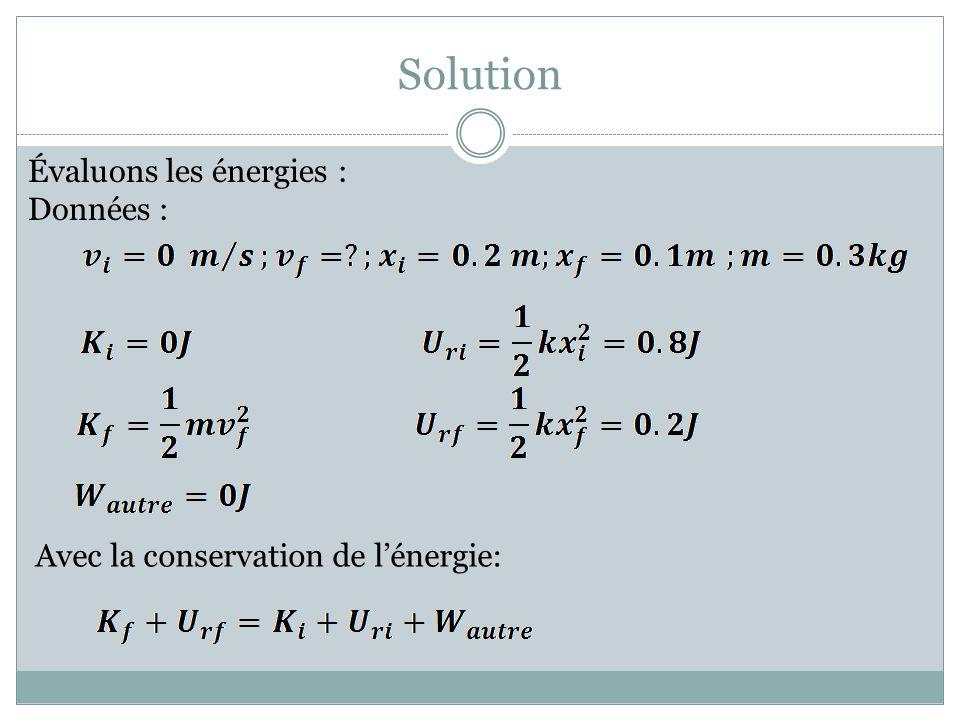 Solution Évaluons les énergies : Données :