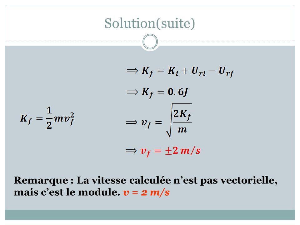 Solution(suite) Remarque : La vitesse calculée n'est pas vectorielle, mais c'est le module.