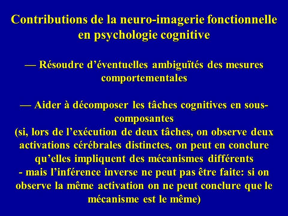 Contributions de la neuro-imagerie fonctionnelle en psychologie cognitive — Résoudre d'éventuelles ambiguïtés des mesures comportementales — Aider à décomposer les tâches cognitives en sous-composantes (si, lors de l'exécution de deux tâches, on observe deux activations cérébrales distinctes, on peut en conclure qu'elles impliquent des mécanismes différents - mais l'inférence inverse ne peut pas être faite: si on observe la même activation on ne peut conclure que le mécanisme est le même)