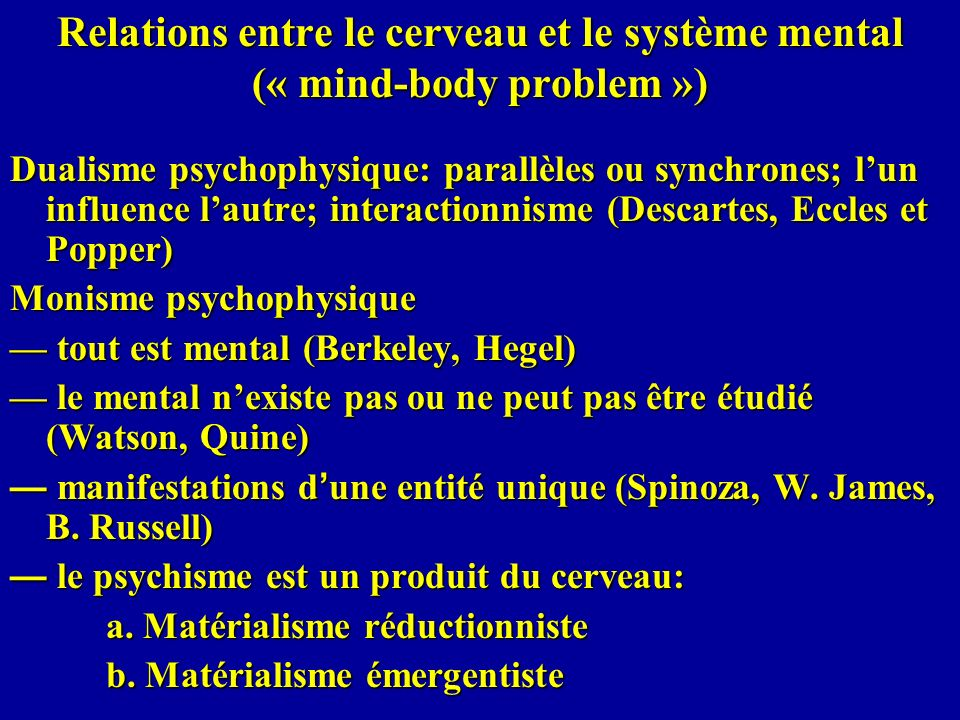 Relations entre le cerveau et le système mental (« mind-body problem »)