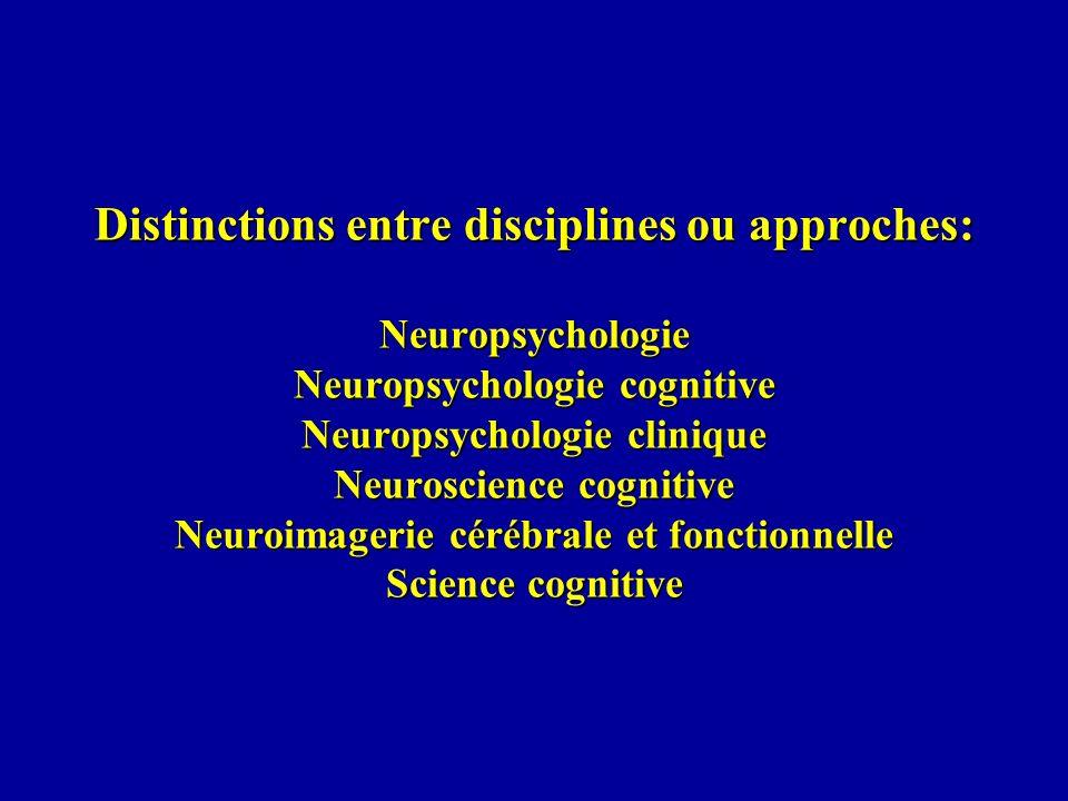 Distinctions entre disciplines ou approches: Neuropsychologie Neuropsychologie cognitive Neuropsychologie clinique Neuroscience cognitive Neuroimagerie cérébrale et fonctionnelle Science cognitive