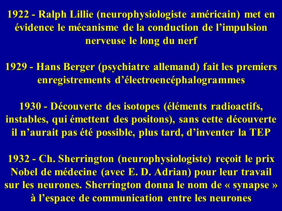 1922 - Ralph Lillie (neurophysiologiste américain) met en évidence le mécanisme de la conduction de l'impulsion nerveuse le long du nerf 1929 - Hans Berger (psychiatre allemand) fait les premiers enregistrements d'électroencéphalogrammes 1930 - Découverte des isotopes (éléments radioactifs, instables, qui émettent des positons), sans cette découverte il n'aurait pas été possible, plus tard, d'inventer la TEP 1932 - Ch.