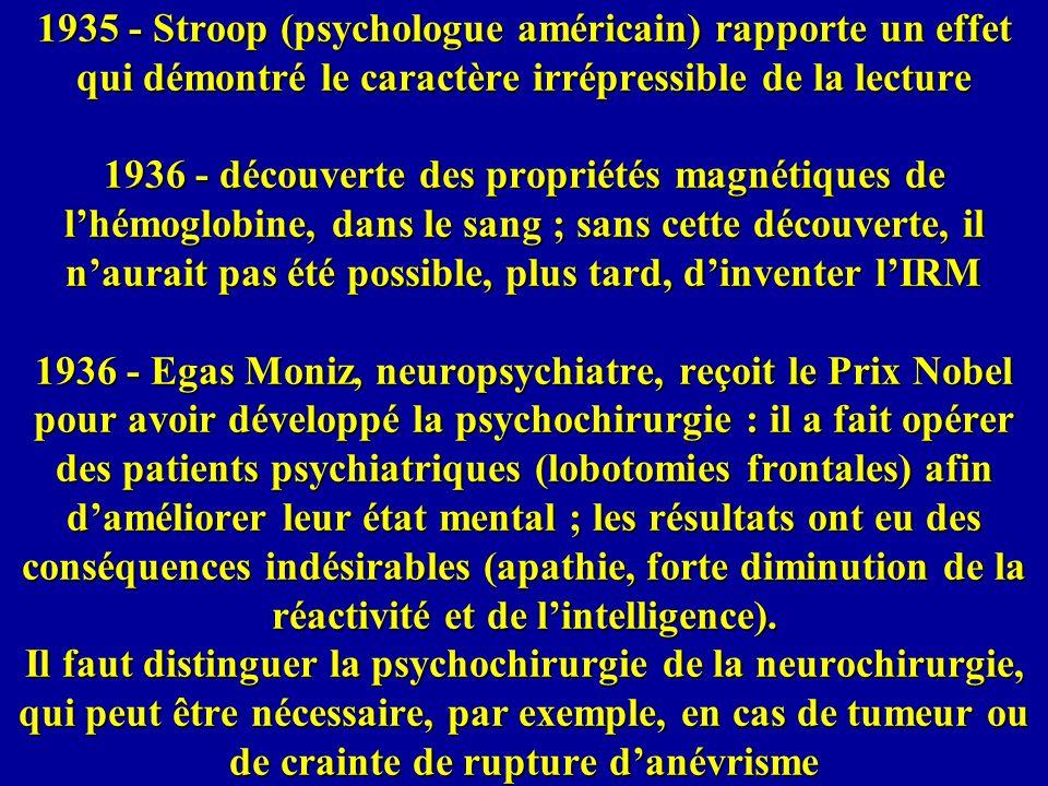 1935 - Stroop (psychologue américain) rapporte un effet qui démontré le caractère irrépressible de la lecture 1936 - découverte des propriétés magnétiques de l'hémoglobine, dans le sang ; sans cette découverte, il n'aurait pas été possible, plus tard, d'inventer l'IRM 1936 - Egas Moniz, neuropsychiatre, reçoit le Prix Nobel pour avoir développé la psychochirurgie : il a fait opérer des patients psychiatriques (lobotomies frontales) afin d'améliorer leur état mental ; les résultats ont eu des conséquences indésirables (apathie, forte diminution de la réactivité et de l'intelligence).