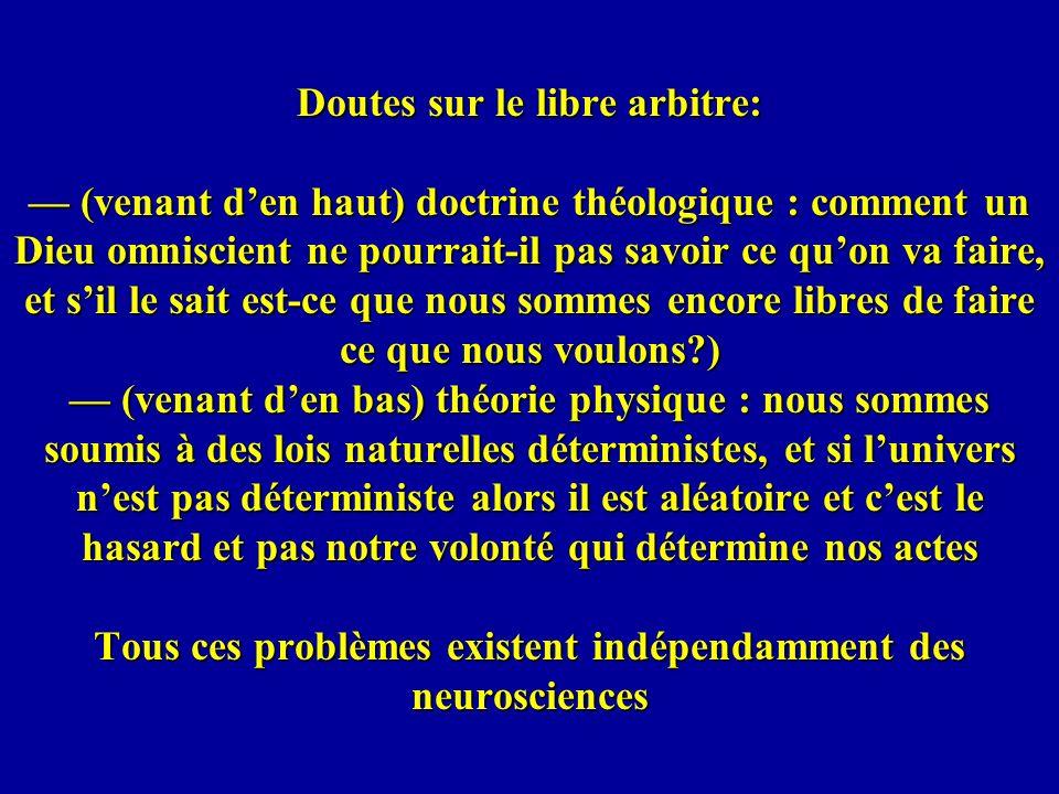Doutes sur le libre arbitre: — (venant d'en haut) doctrine théologique : comment un Dieu omniscient ne pourrait-il pas savoir ce qu'on va faire, et s'il le sait est-ce que nous sommes encore libres de faire ce que nous voulons ) — (venant d'en bas) théorie physique : nous sommes soumis à des lois naturelles déterministes, et si l'univers n'est pas déterministe alors il est aléatoire et c'est le hasard et pas notre volonté qui détermine nos actes Tous ces problèmes existent indépendamment des neurosciences