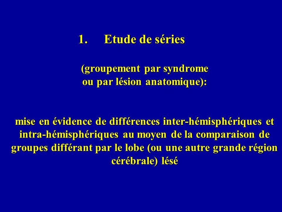 Etude de séries (groupement par syndrome ou par lésion anatomique): mise en évidence de différences inter-hémisphériques et intra-hémisphériques au moyen de la comparaison de groupes différant par le lobe (ou une autre grande région cérébrale) lésé