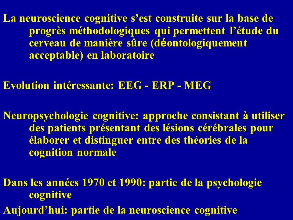 La neuroscience cognitive s'est construite sur la base de progrès méthodologiques qui permettent l'étude du cerveau de manière sûre (déontologiquement acceptable) en laboratoire
