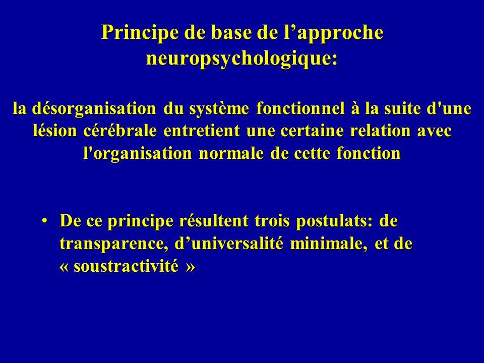 Principe de base de l'approche neuropsychologique: la désorganisation du système fonctionnel à la suite d une lésion cérébrale entretient une certaine relation avec l organisation normale de cette fonction