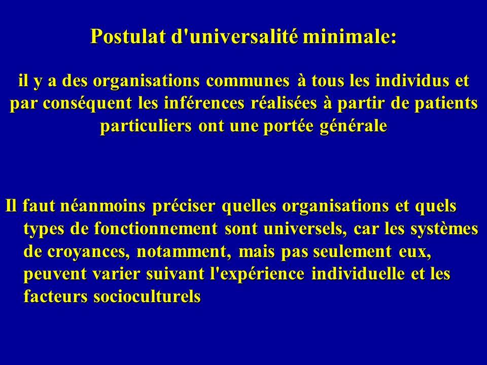 Postulat d universalité minimale: il y a des organisations communes à tous les individus et par conséquent les inférences réalisées à partir de patients particuliers ont une portée générale