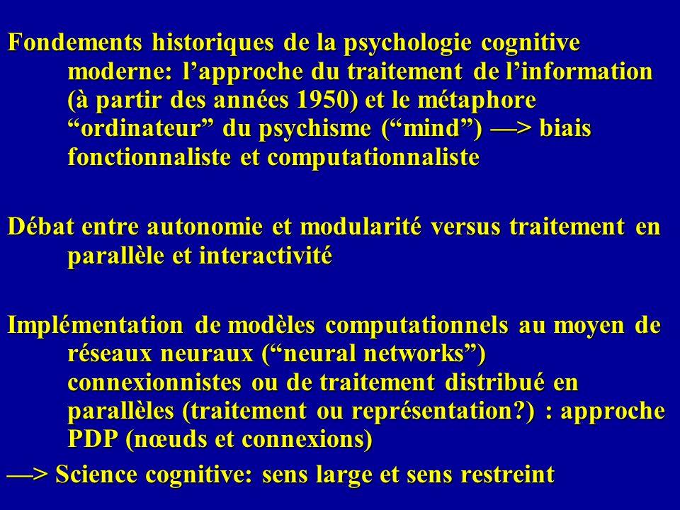 Fondements historiques de la psychologie cognitive moderne: l'approche du traitement de l'information (à partir des années 1950) et le métaphore ordinateur du psychisme ( mind ) —> biais fonctionnaliste et computationnaliste