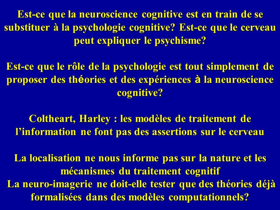 Est-ce que la neuroscience cognitive est en train de se substituer à la psychologie cognitive.