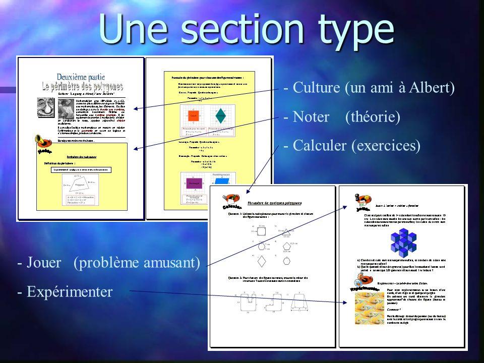 Une section type - Culture (un ami à Albert) - Noter (théorie)