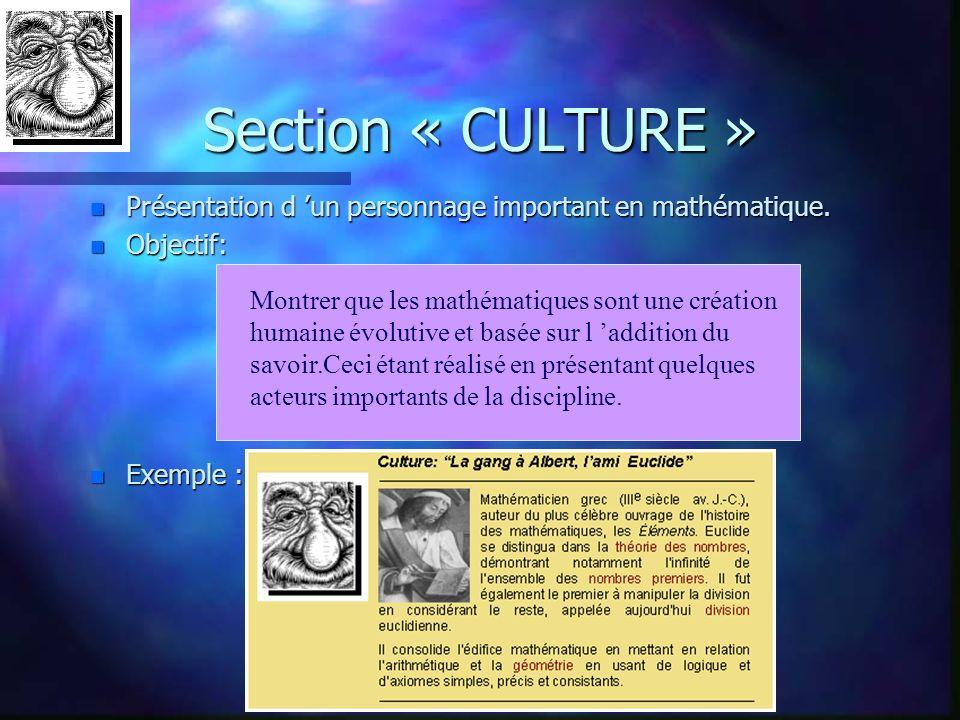 Section « CULTURE » Présentation d 'un personnage important en mathématique. Objectif: Exemple :