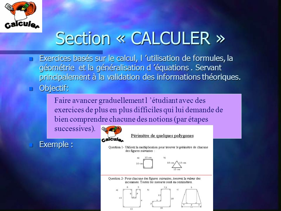 Section « CALCULER »