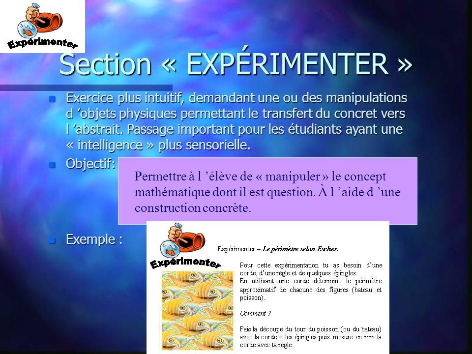 Section « EXPÉRIMENTER »