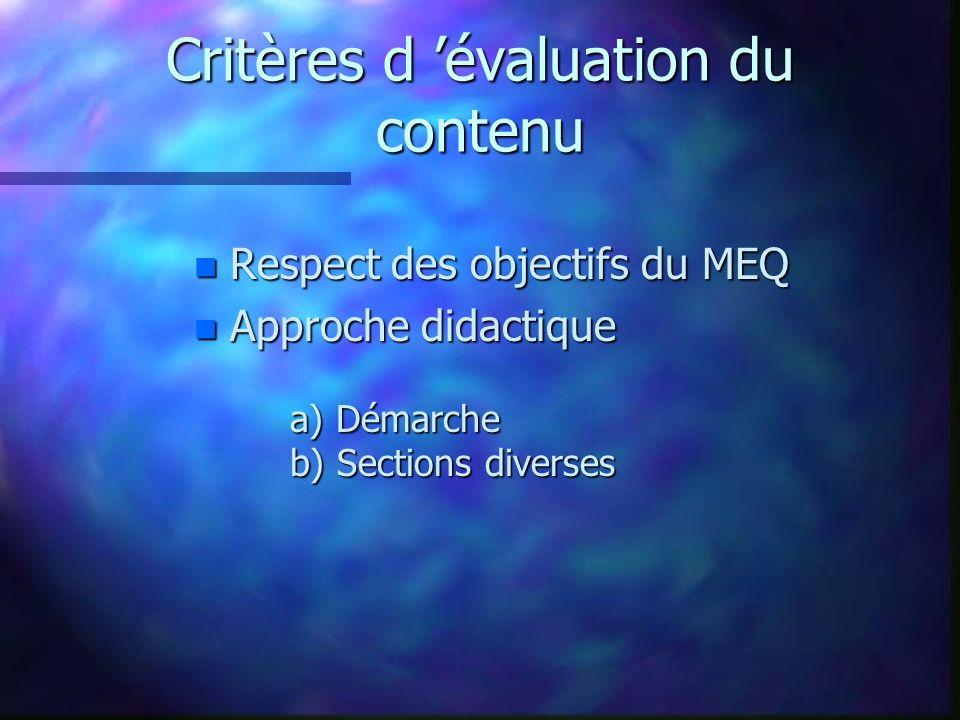 Critères d 'évaluation du contenu