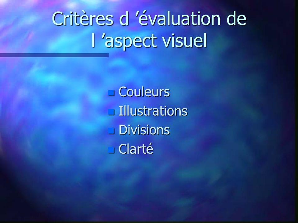 Critères d 'évaluation de l 'aspect visuel