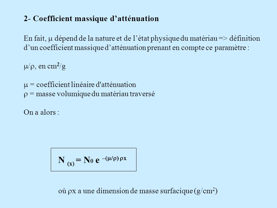 N (x) = N0 e –(m/) x 2- Coefficient massique d'atténuation