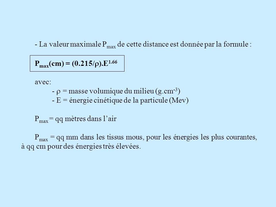 - La valeur maximale Pmax de cette distance est donnée par la formule : Pmax(cm) = (0.215/).E1.66.