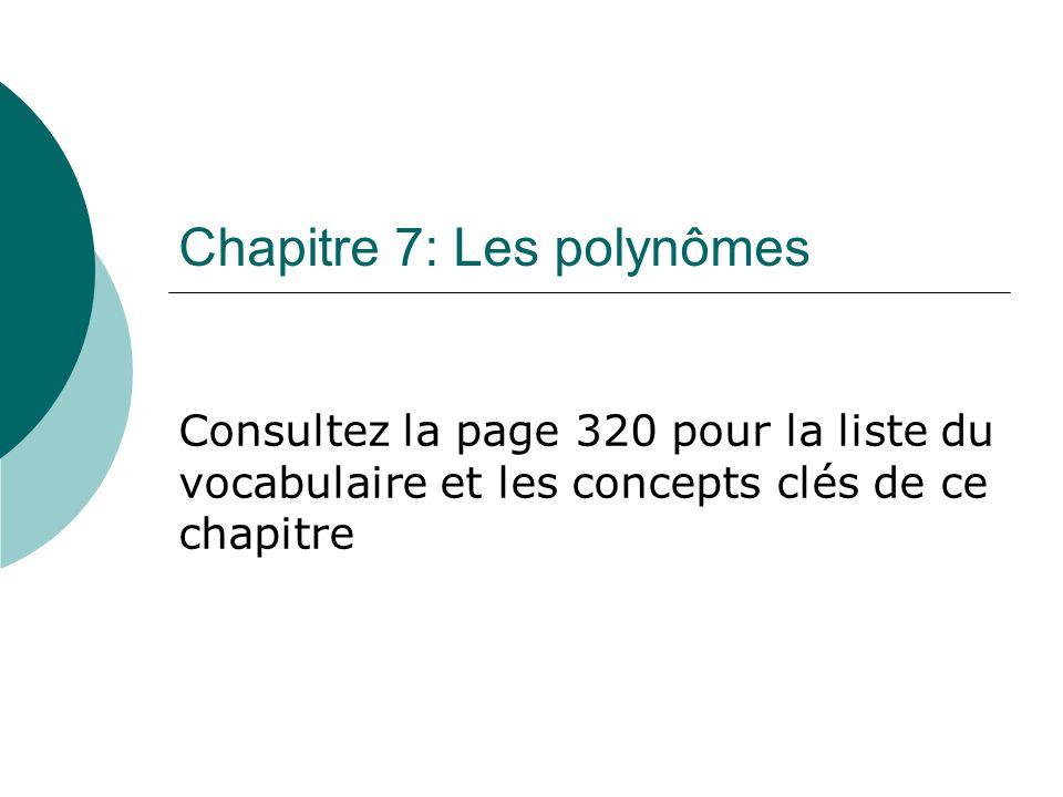 Chapitre 7: Les polynômes