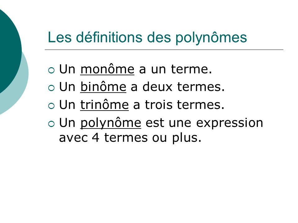 Les définitions des polynômes