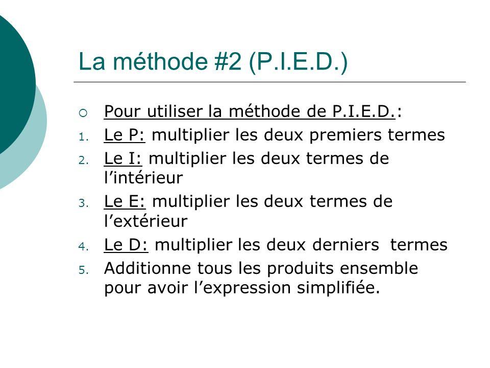 La méthode #2 (P.I.E.D.) Pour utiliser la méthode de P.I.E.D.: