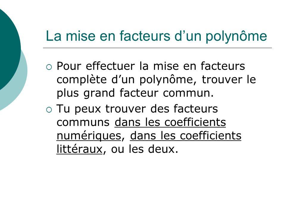 La mise en facteurs d'un polynôme