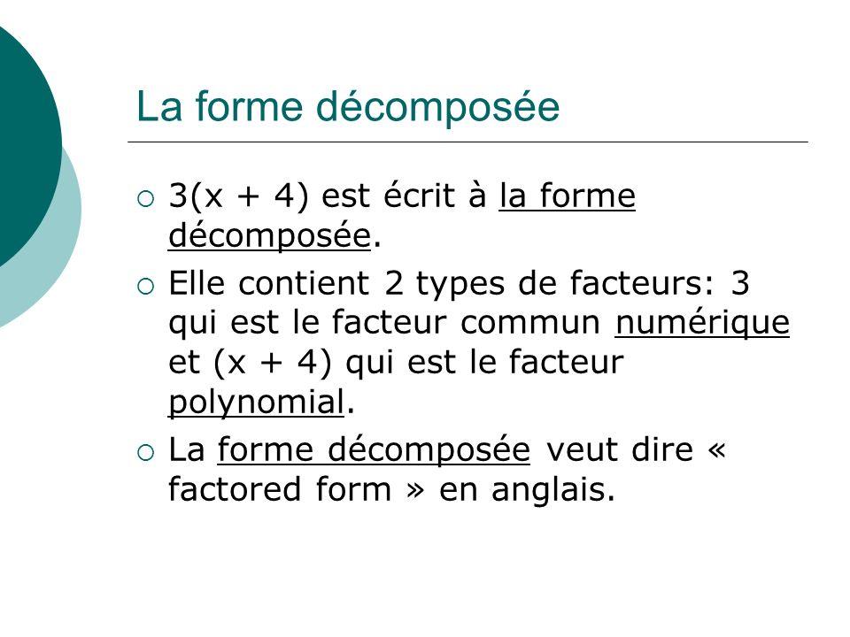 La forme décomposée 3(x + 4) est écrit à la forme décomposée.