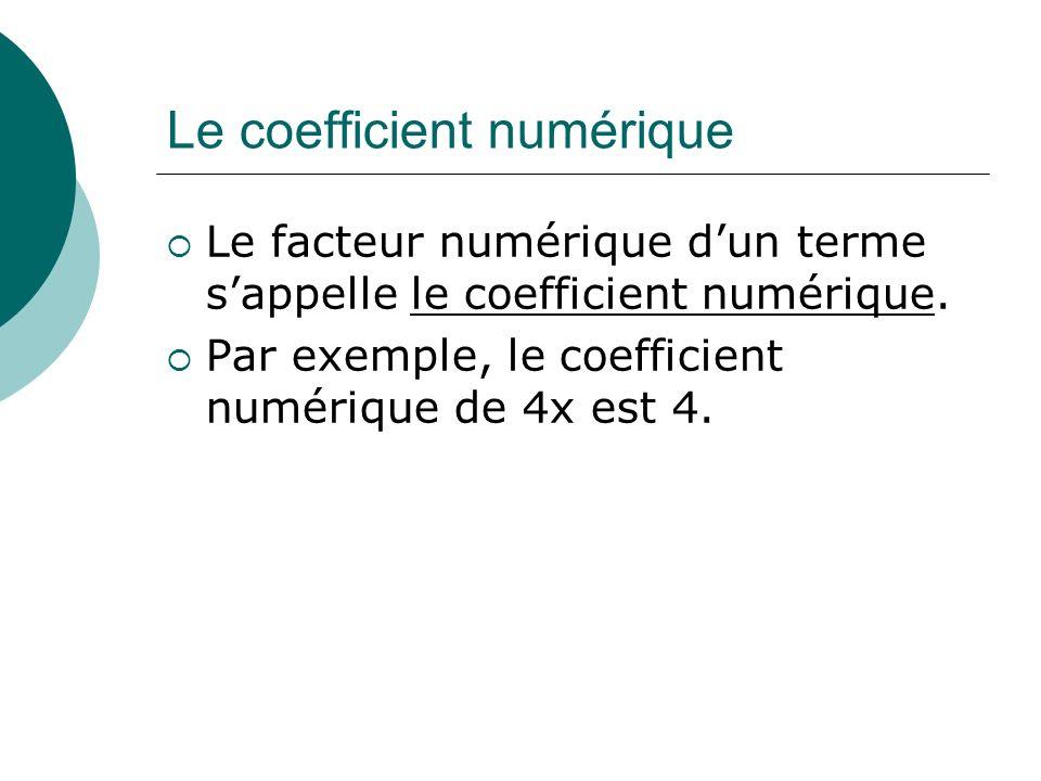 Le coefficient numérique