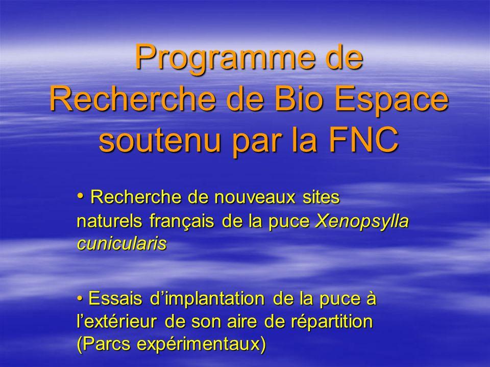 Programme de Recherche de Bio Espace soutenu par la FNC