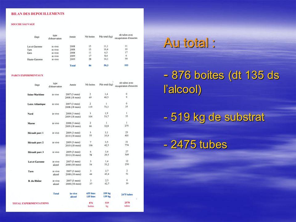 Au total : - 876 boites (dt 135 ds l'alcool) - 519 kg de substrat - 2475 tubes