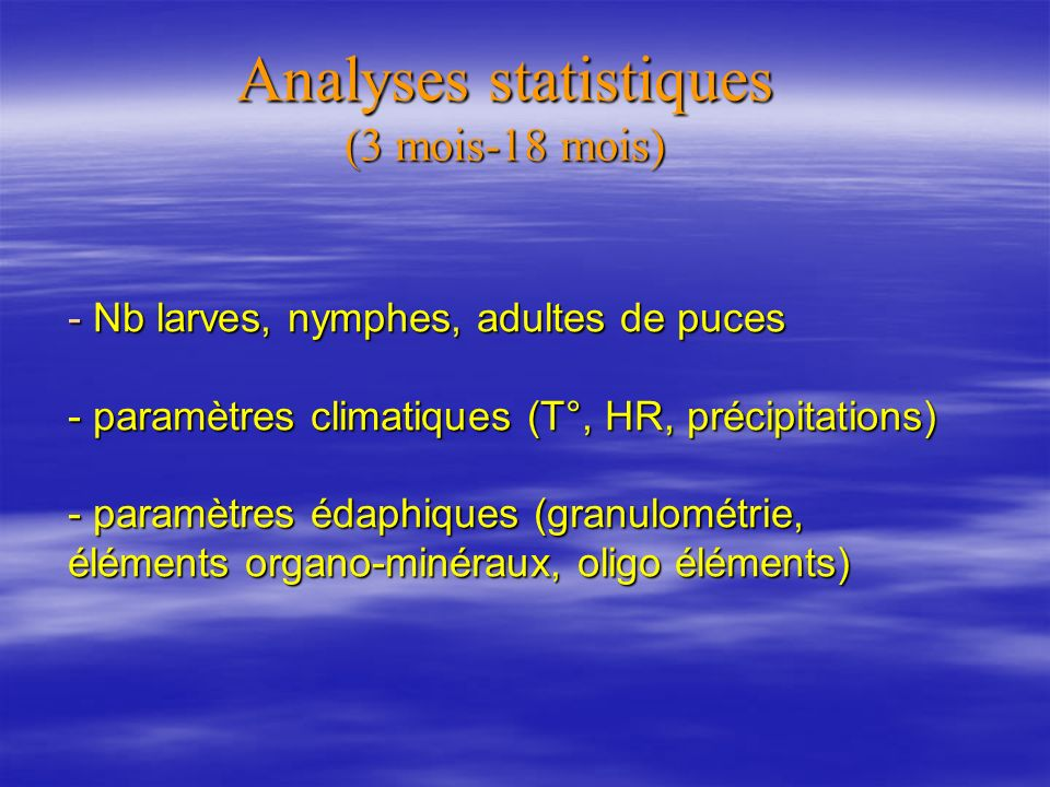 Analyses statistiques (3 mois-18 mois)