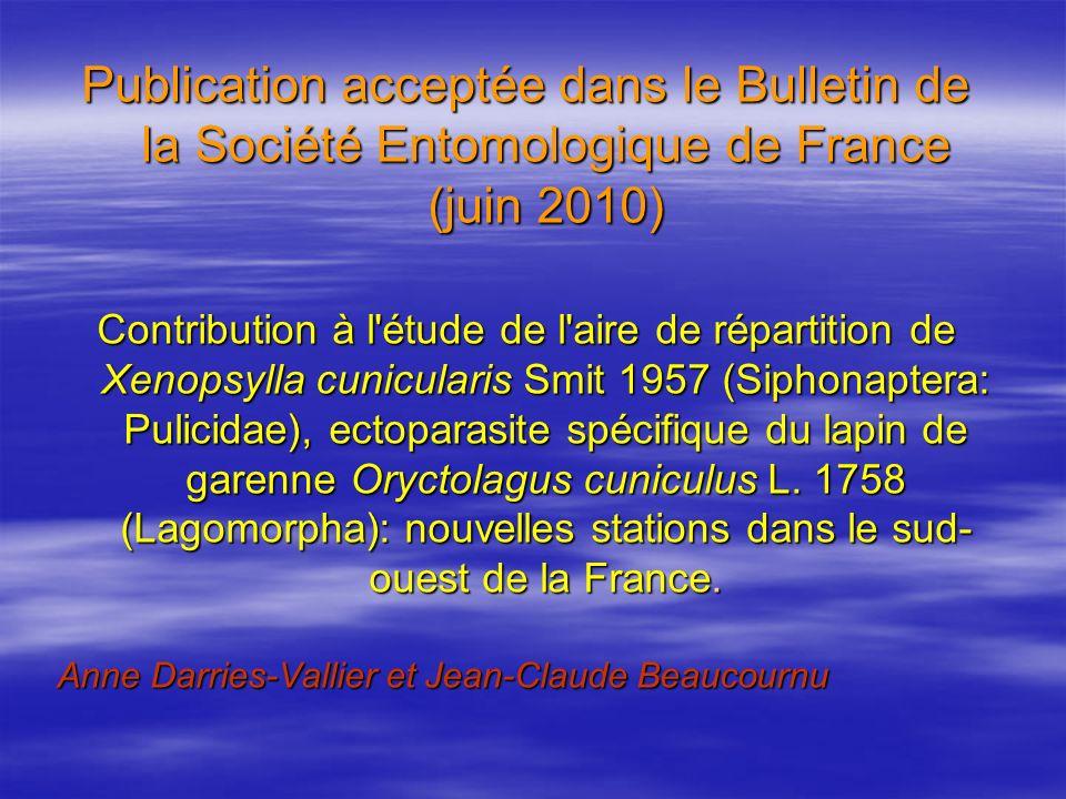 Publication acceptée dans le Bulletin de la Société Entomologique de France (juin 2010)